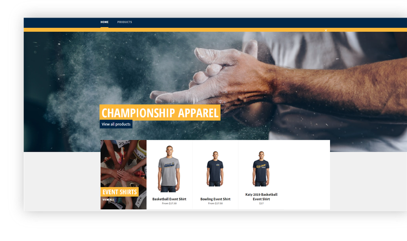 Custom championship stores built to make ordering for players and coaches easy